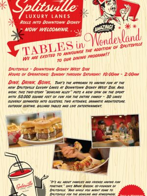 NEWS: Splitsville Now Welcoming Tables in Wonderland