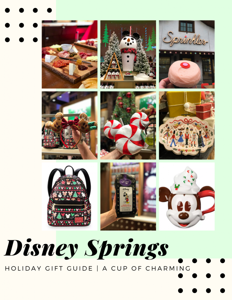 Disney Springs Gift Guide of different food items and merchandise