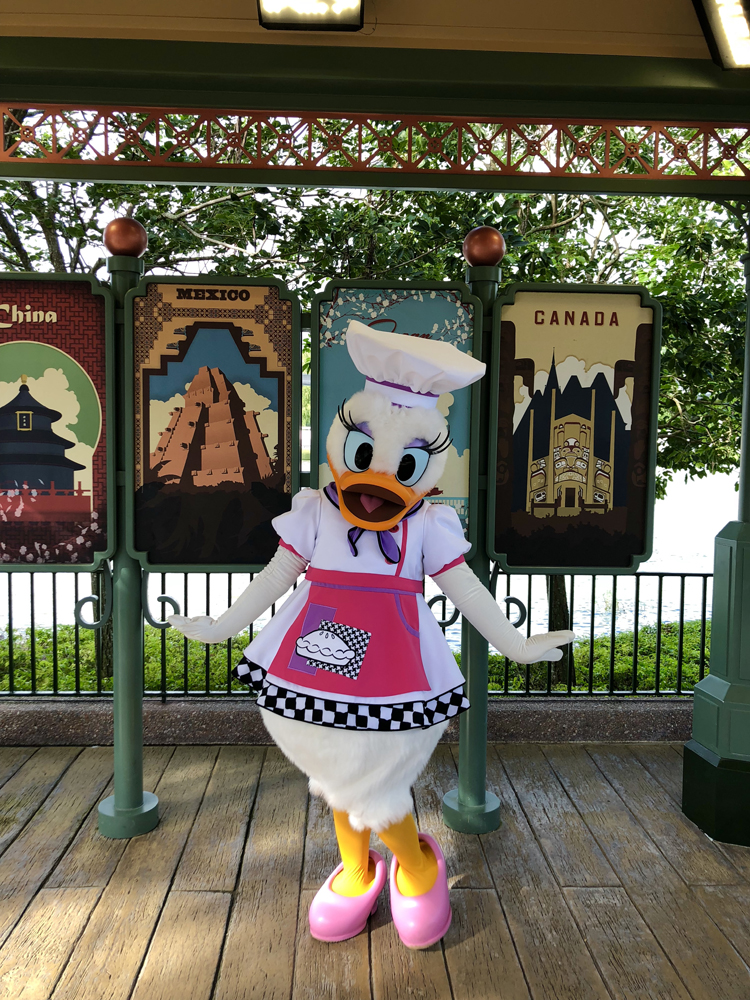 Daisy Duck with a white chef hat and a pink apron