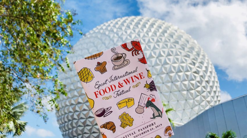 Colorful passport in front of Spaceship Earth with blue sky