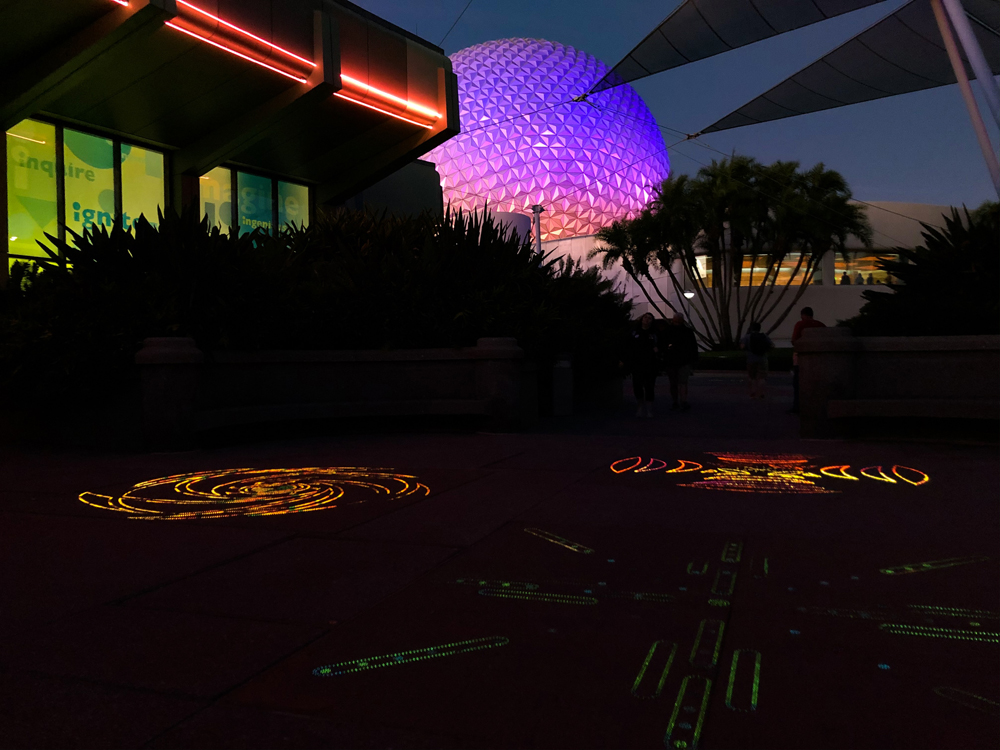 Pink and blue geo sphere with fiber optic lighting on the ground