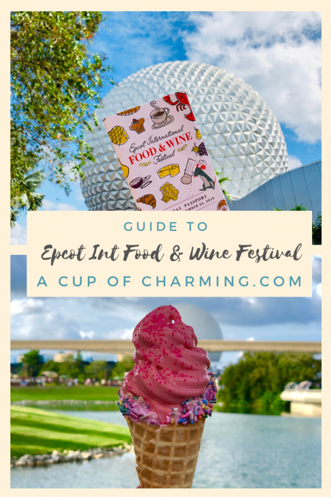 Pinterest image with an Epcot Festival Passport and a Pink Ice Cream Cone