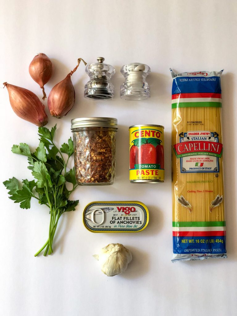 Various grocery items for making Caramelized Shallot Pasta Recipe