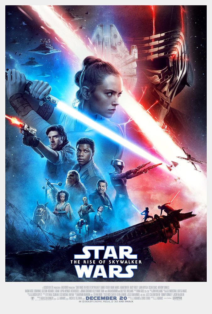 Blue and red with several people Star Wars movie poster